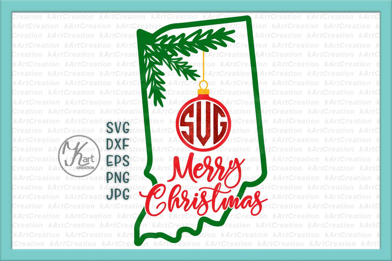 Christmas Indiana monogram svg dxf cutting clipart file example image 1