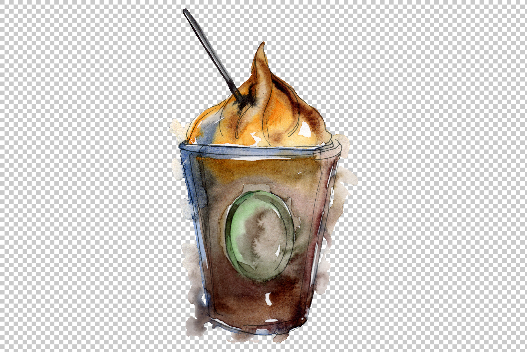 Drinks Coffee Watercolor png example image 7