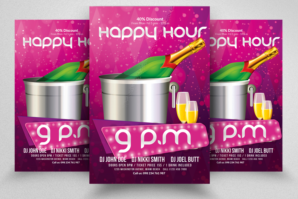10 Happy Hour Flyer Template Bundle example image 8