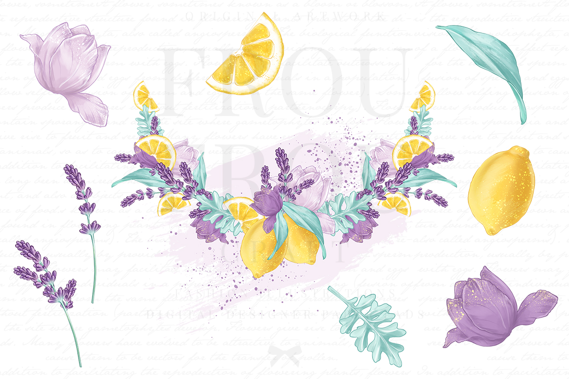 Lemons Fruits Lavender Citrus Purple Yellow Clip Art example image 4