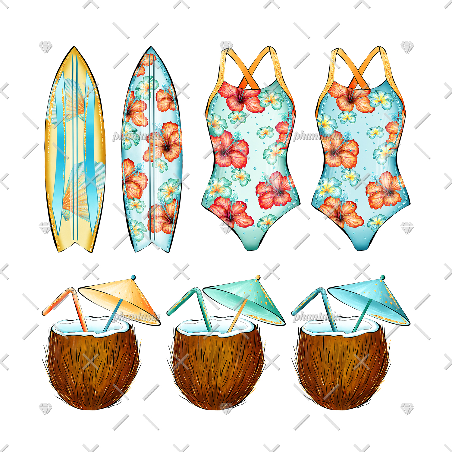 Surfer Girl Cliparts example image 5