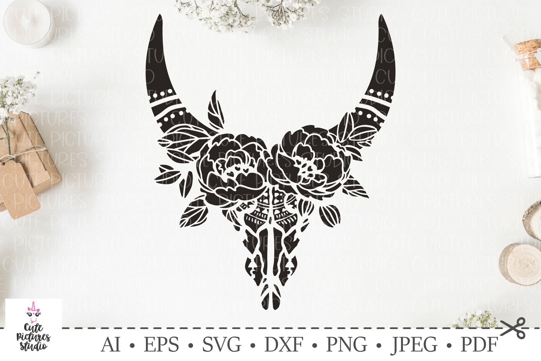 Skull of bull with a wreath of flowers and leaves. SVG cut. example image 1