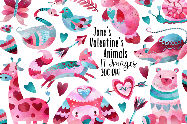Watercolor Valentines Animals Clipart example image 1