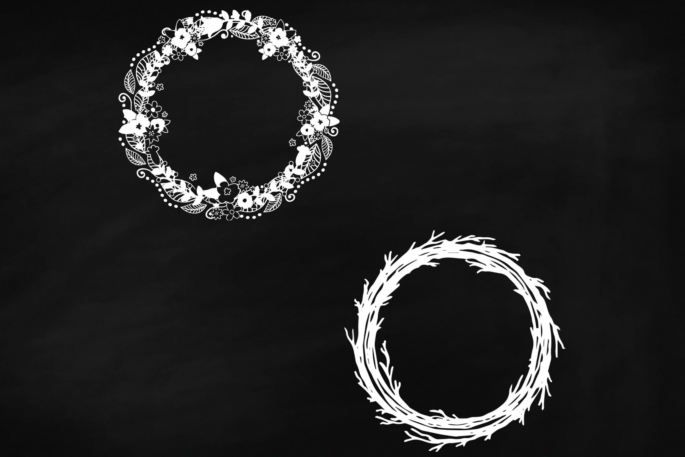 Chalk Floral Deco Wreaths Clip Art example image 4