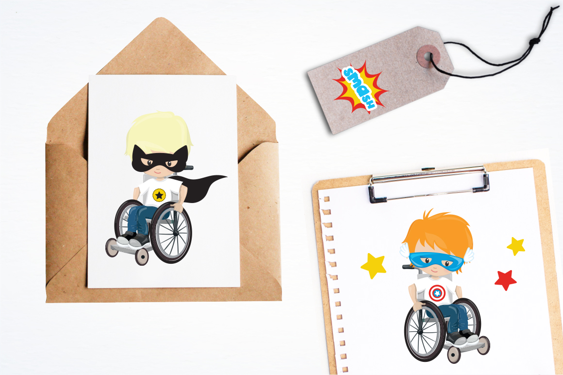 Kids in wheelchair graphic and illustrations example image 3