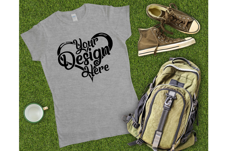 Gildan 64000L Ladies T-Shirt Camping Mockup Bundle Flat Lay example image 12