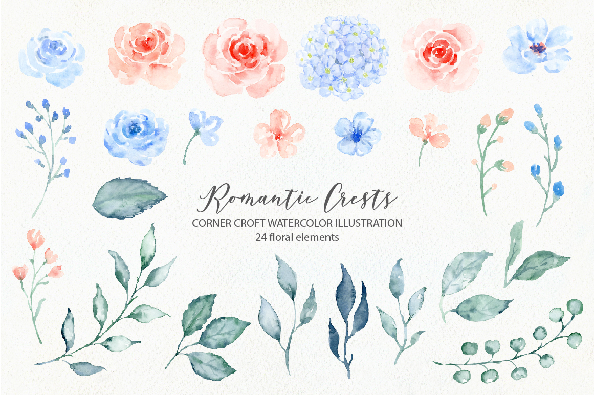 Watercolor Romantic Crest Design Kit example image 6