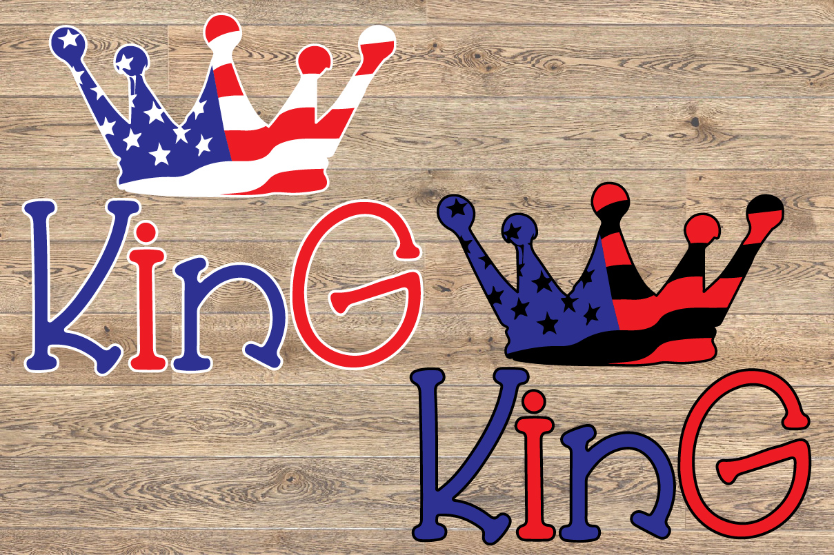King Crown USA Flag SVG Royal 4th July 1263s example image 2