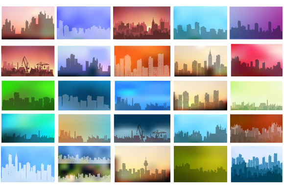 Vector set of city landscape example image 2