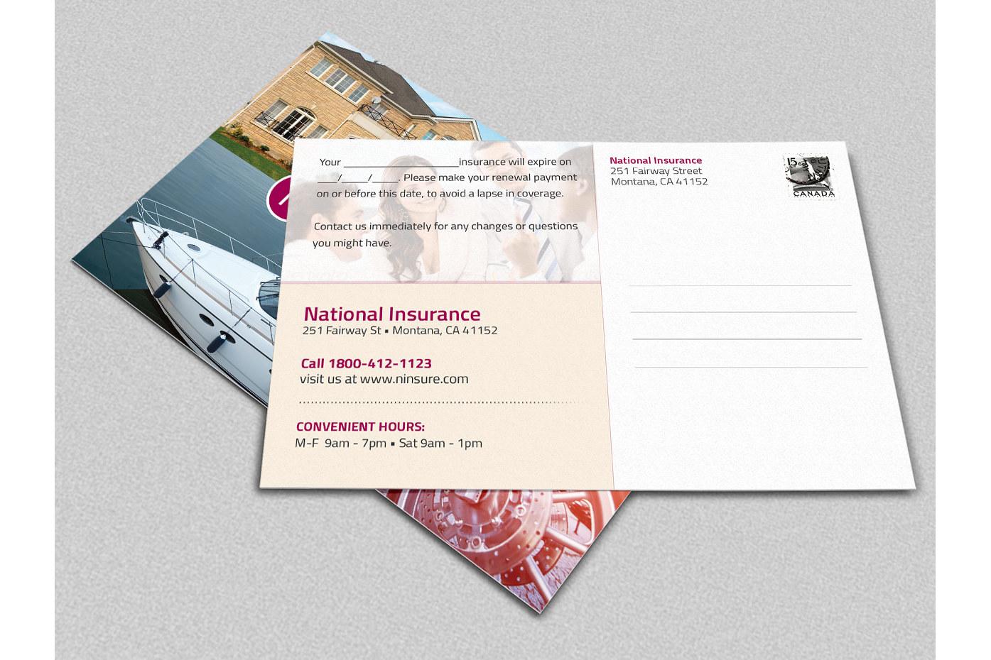 Insurance Renewal Postcard Template example image 2