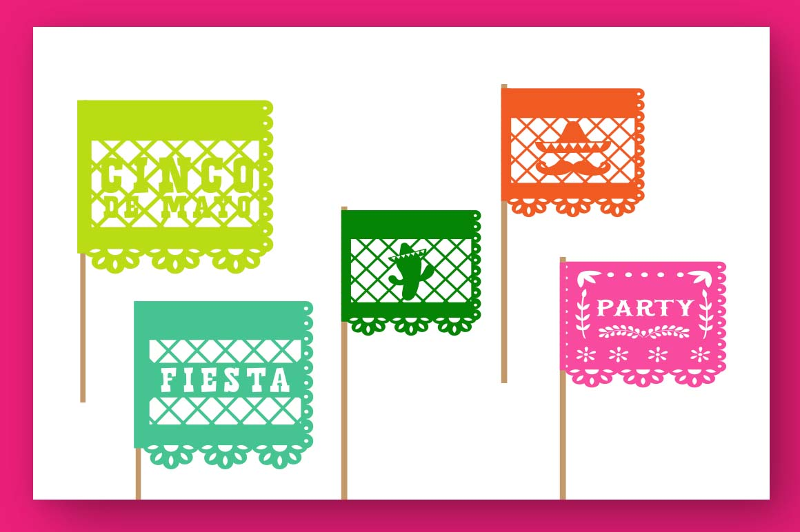 Papercut blocks font a mexican party banner example image 3
