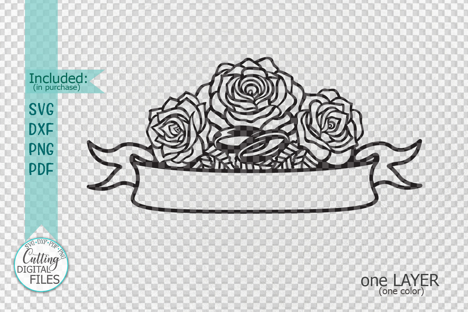 Wedding roses with rings banner for names svg dxf laser cut example image 3