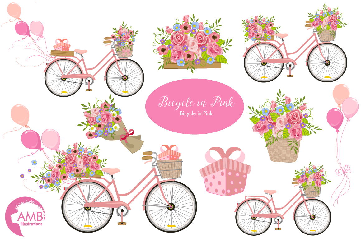 Bicycle in Pink graphics, clipart, illustration AMB-1323 example image 1