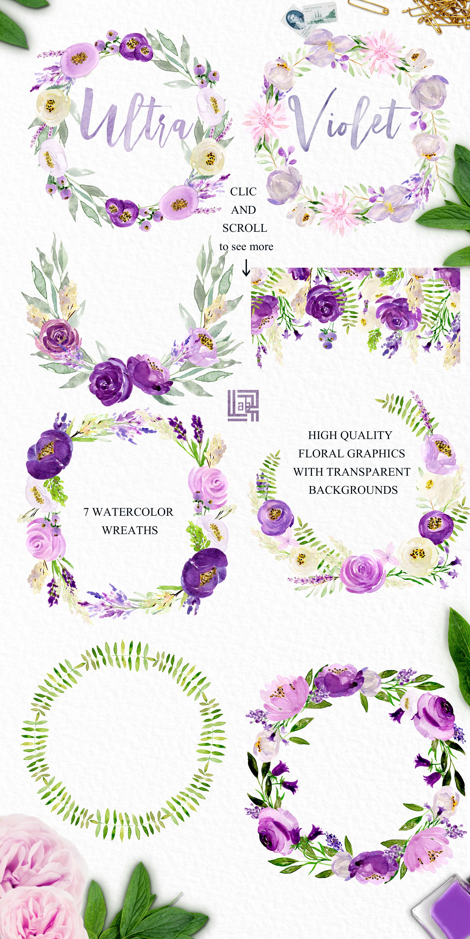 Ultra violet watercolor flowers example image 3