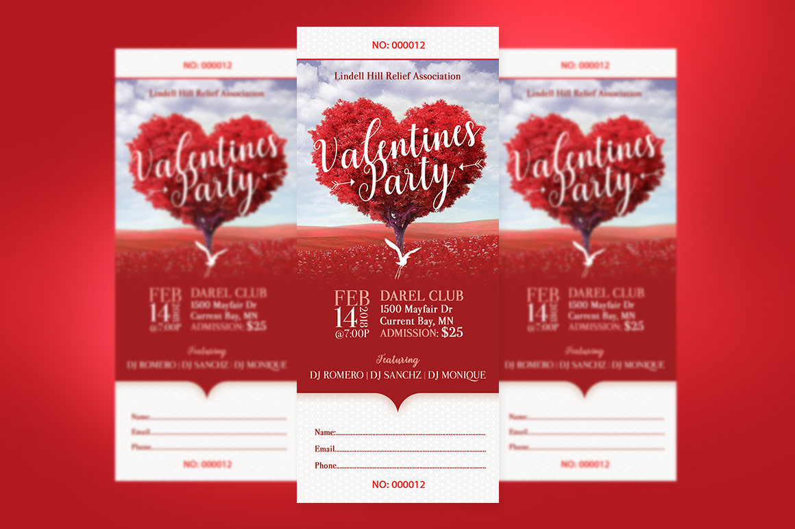 Tree Heart Valentines Party Ticket Template example image 2