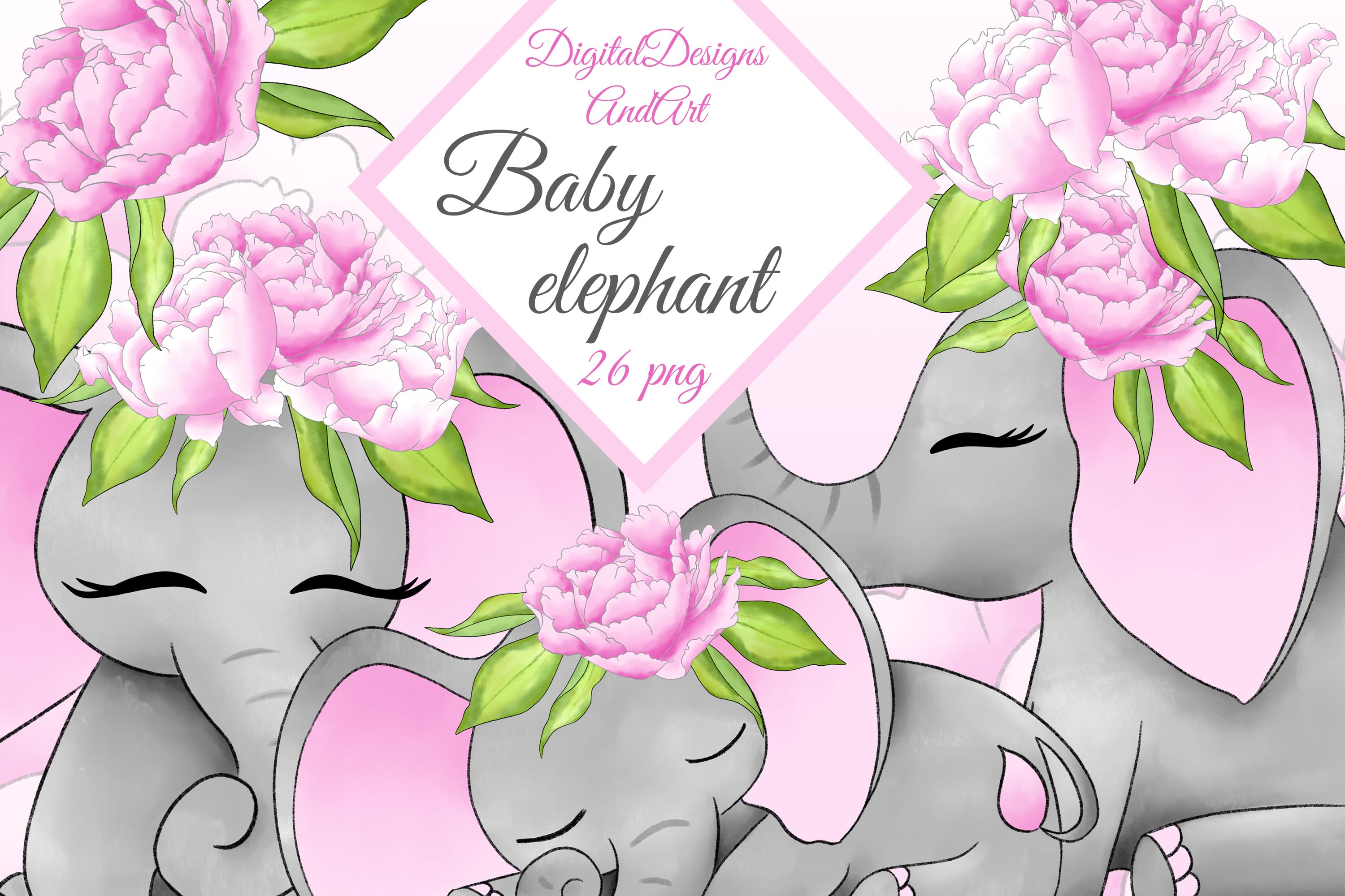 Baby elephant in pink example image 1