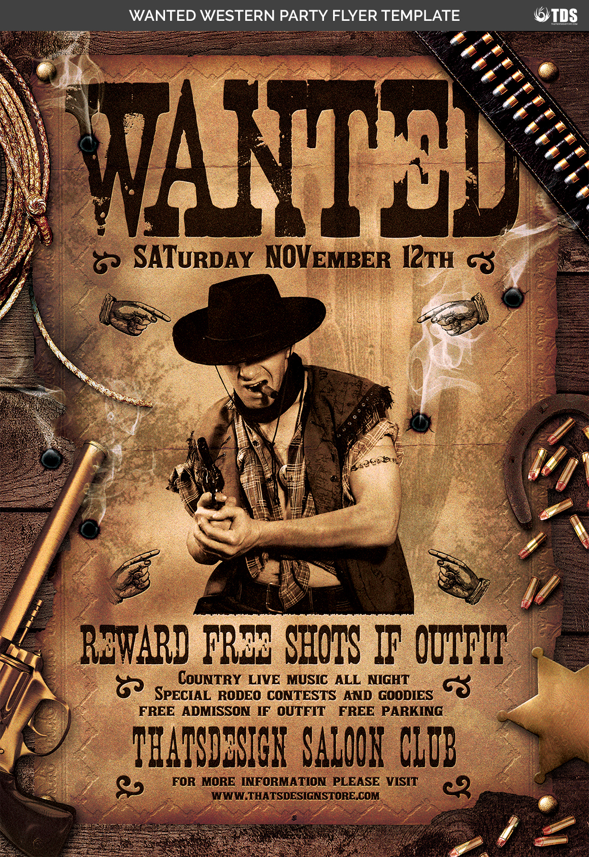 Wanted Western Party Flyer Template example image 7