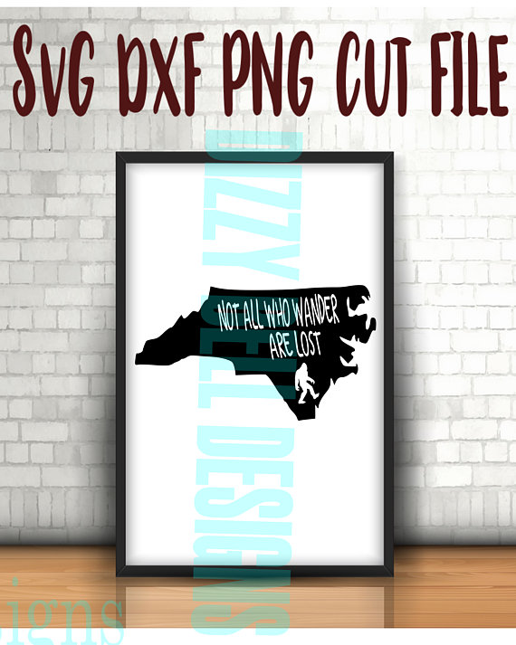 North Carolina State Sasquatch File, Instant Download, Svg, Png, Dxf, NC State, Not All Who Wander Are Lost, North Carolina Svg file example image 1