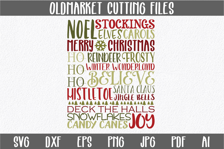 Christmas Subway Art SVG Cut File - Christmas SVG DXF EPS example image 1