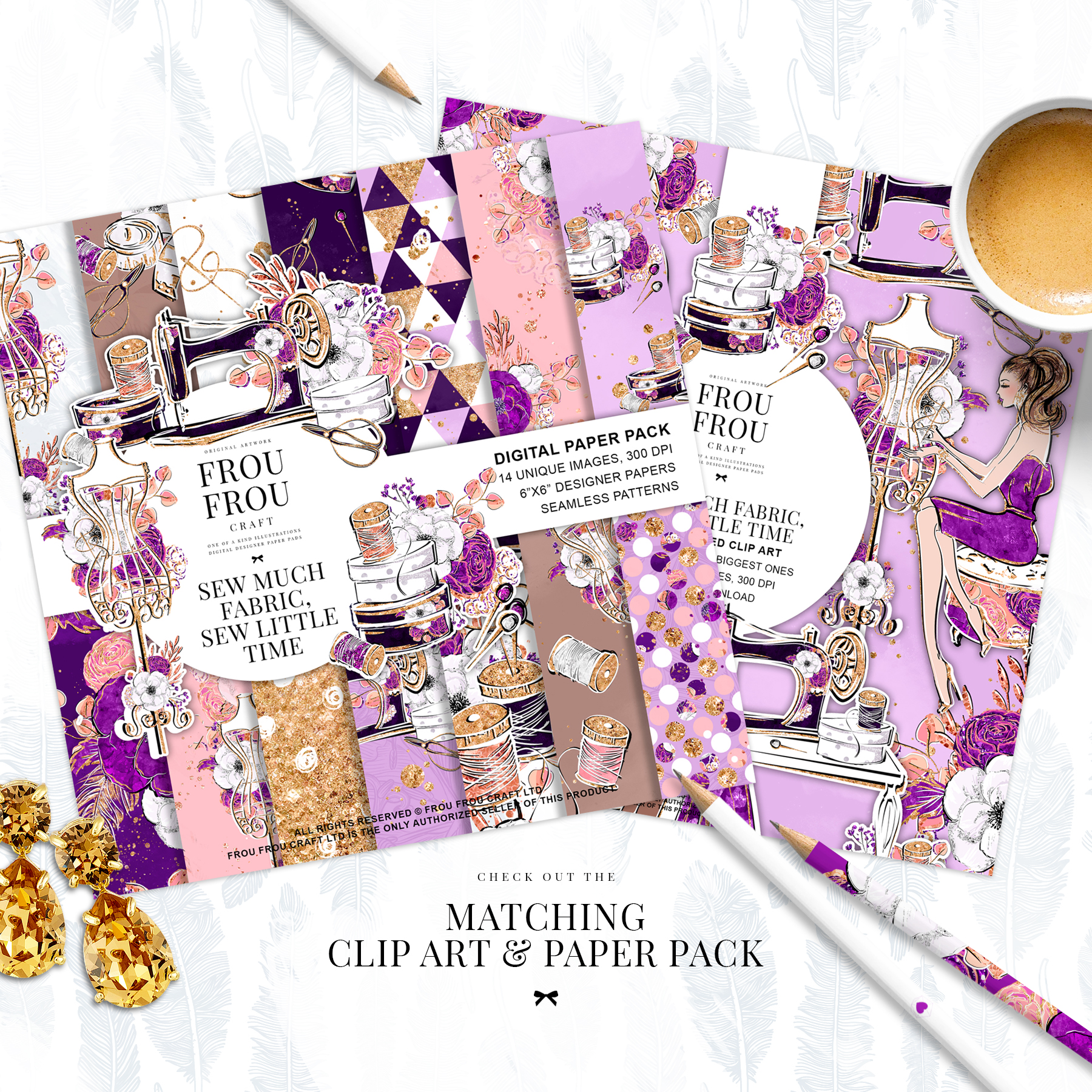 Fashion Designer Sewing Gold Glitter Clip Art example image 2