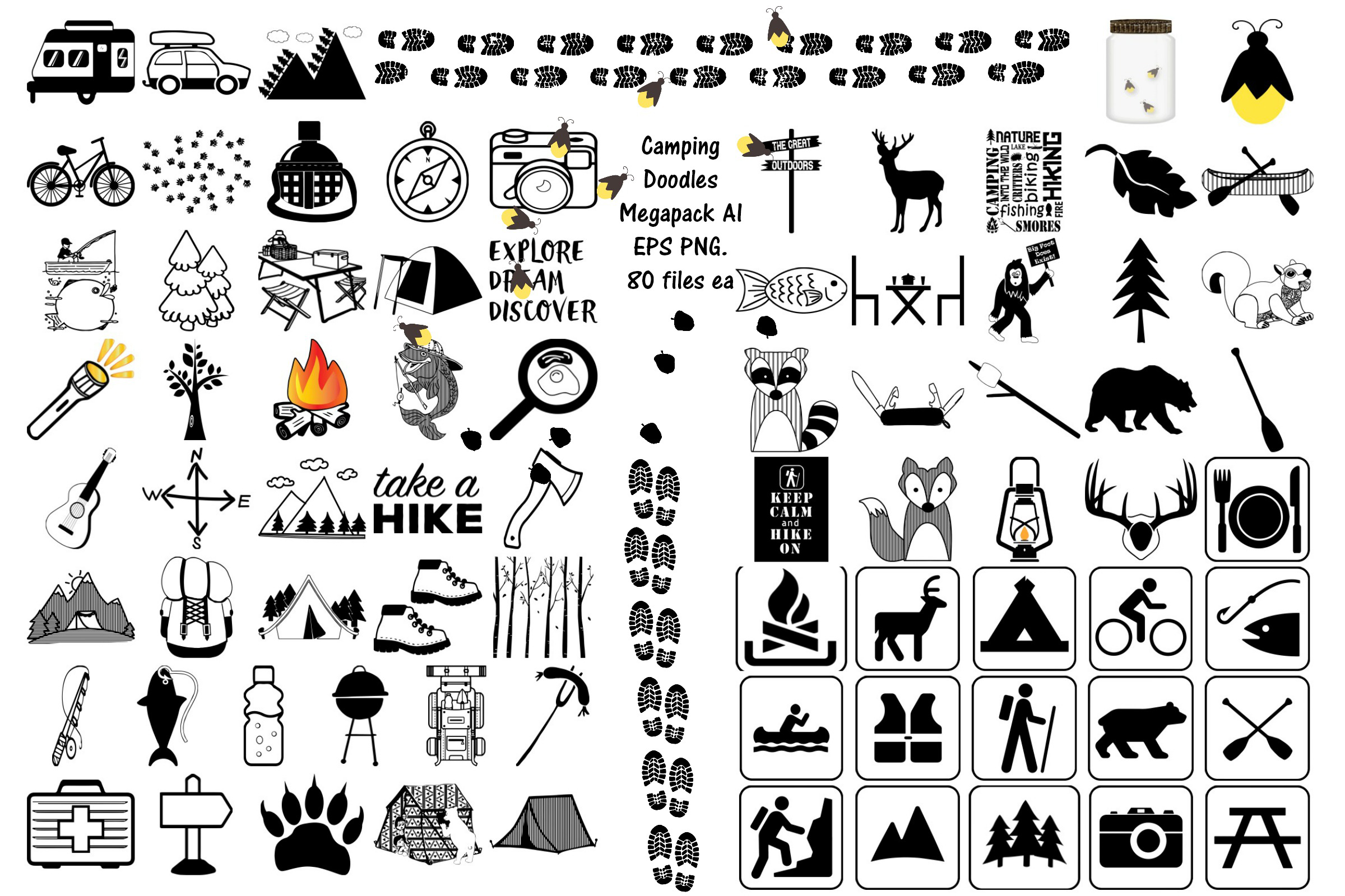 Camping Doodles & Silhouettes Mega Bundle AI EPS PNG example image 1