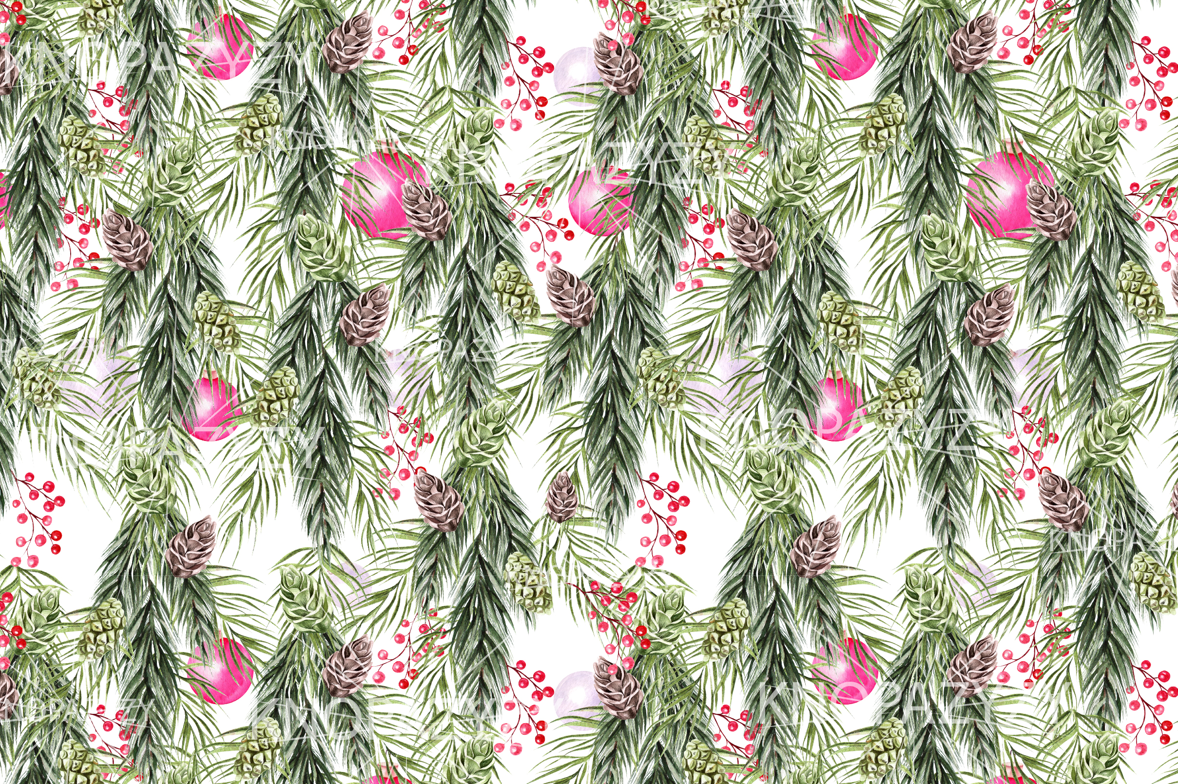 Hand Drawn Watercolor Christmas 13 Patterns example image 9
