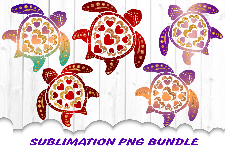Valentine Mandala Turtle Glitter Sublimation PNG Bundle example image 1
