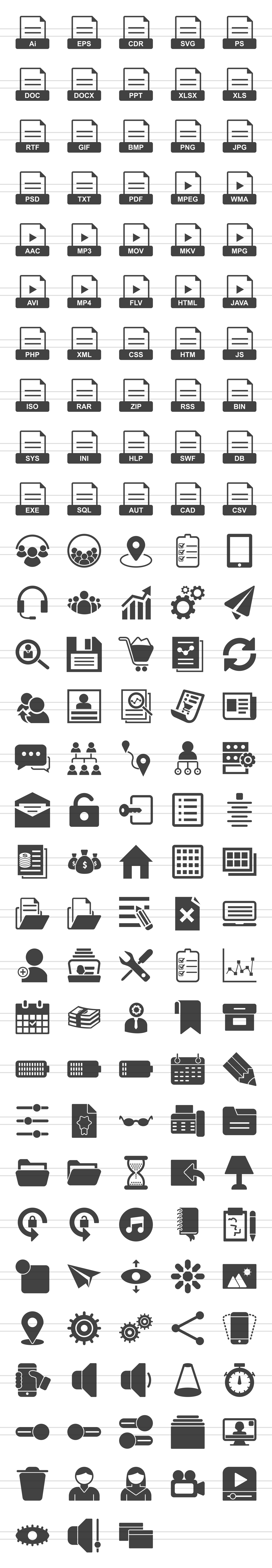 148 Files & Folders Glyph Icons example image 2