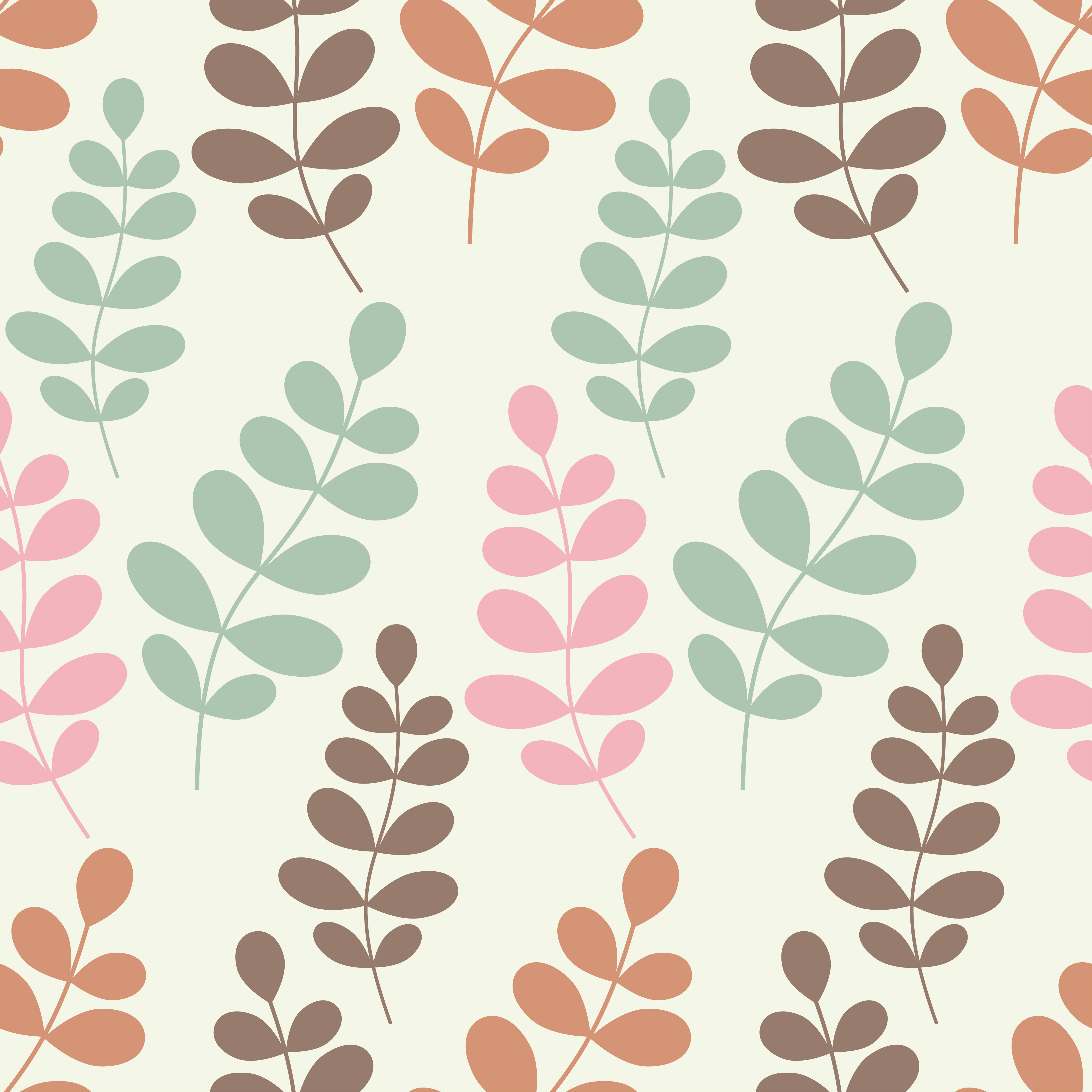 Seamless vector background with decorative branche and leaves. Pattern with plants. example image 6