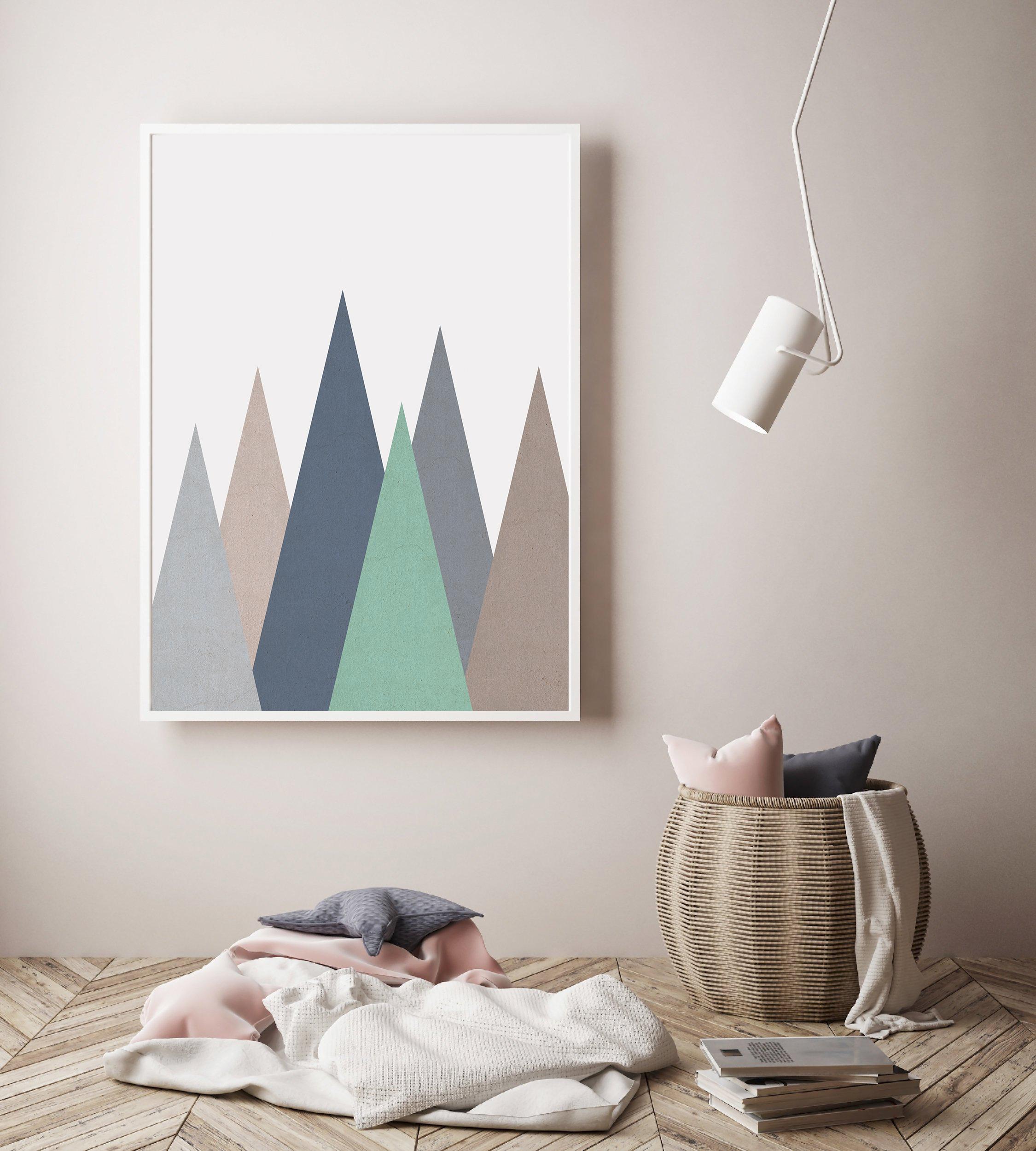 Geometric Mountain Print, Nursery Mountain Wall Art example image 3