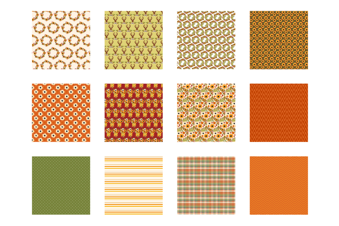 Autumn Woods Pattern collection, vector ai, example image 2