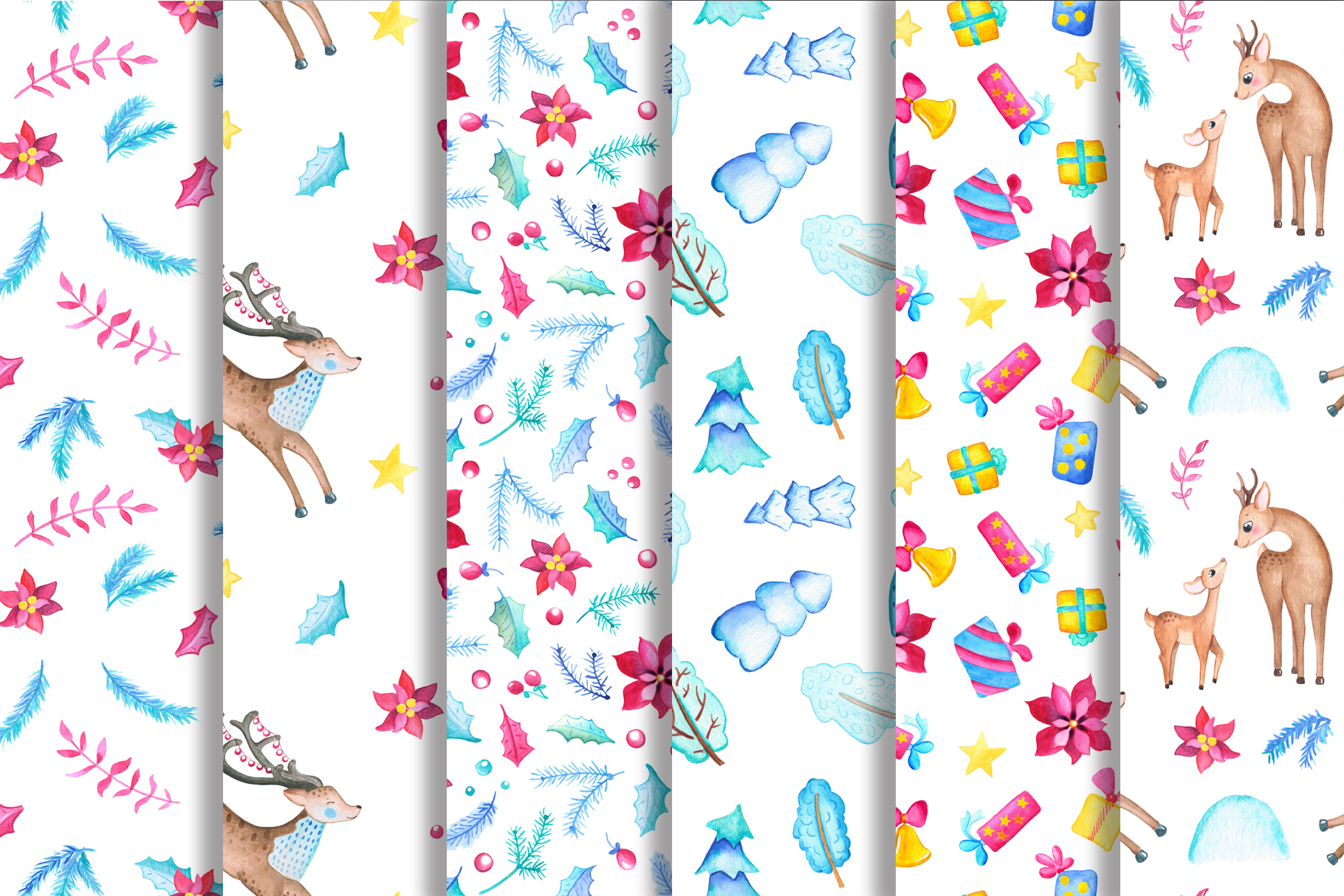 Watercolor Christmas Clipart And Seamless Patterns example image 5