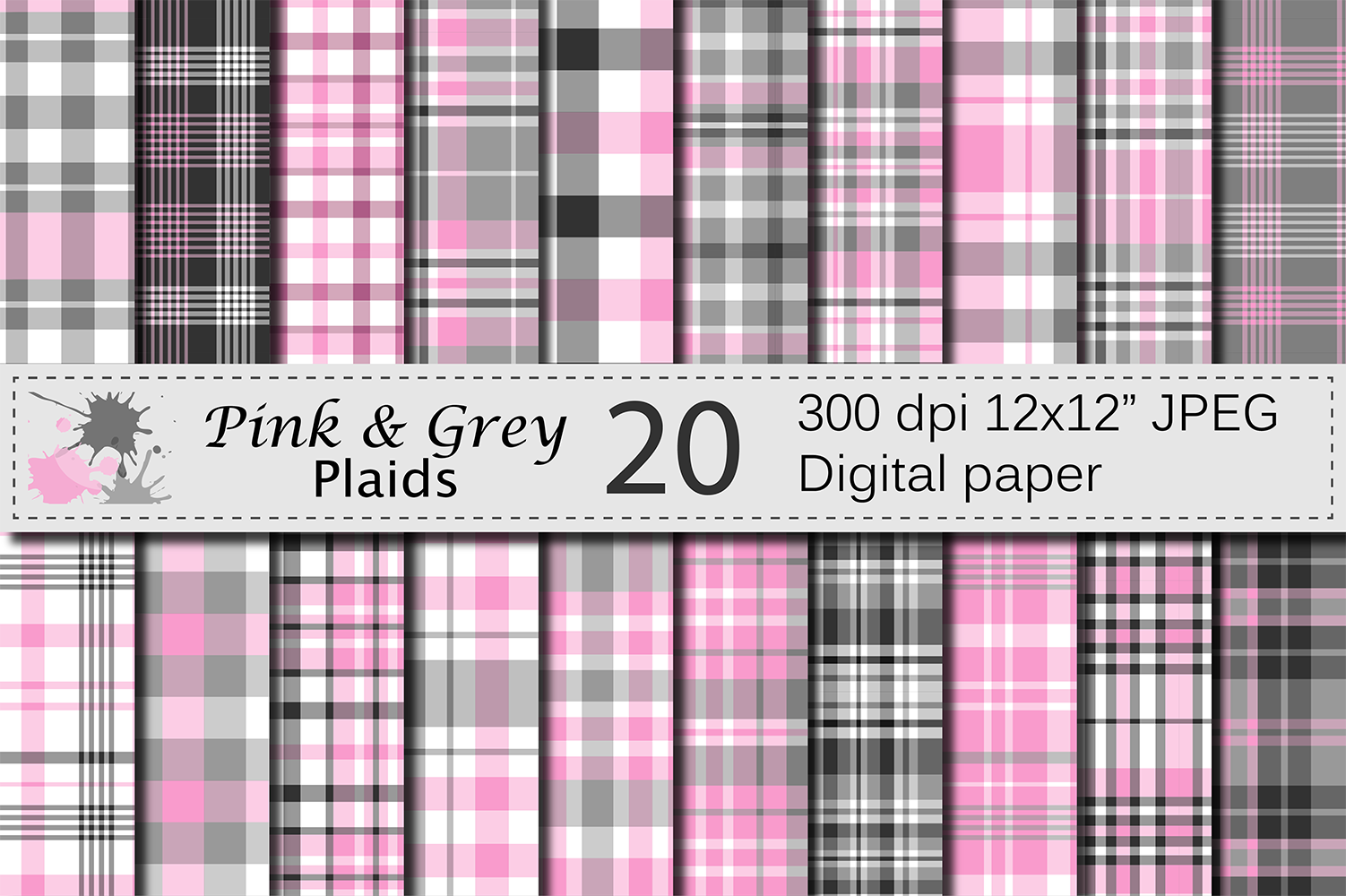 Pink and Gray Plaid Digital Paper example image 1