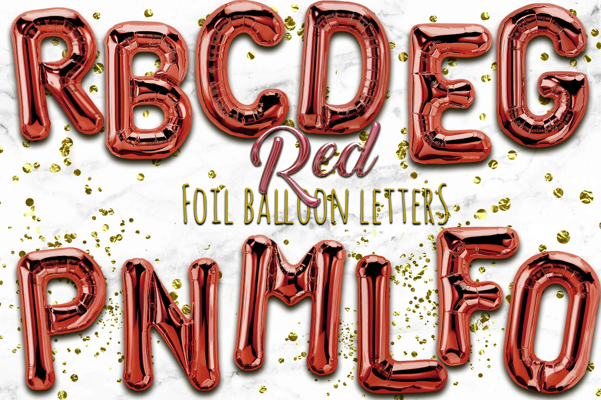 Red Foil Balloon Numbers PNG- Hand Drawn example image 1