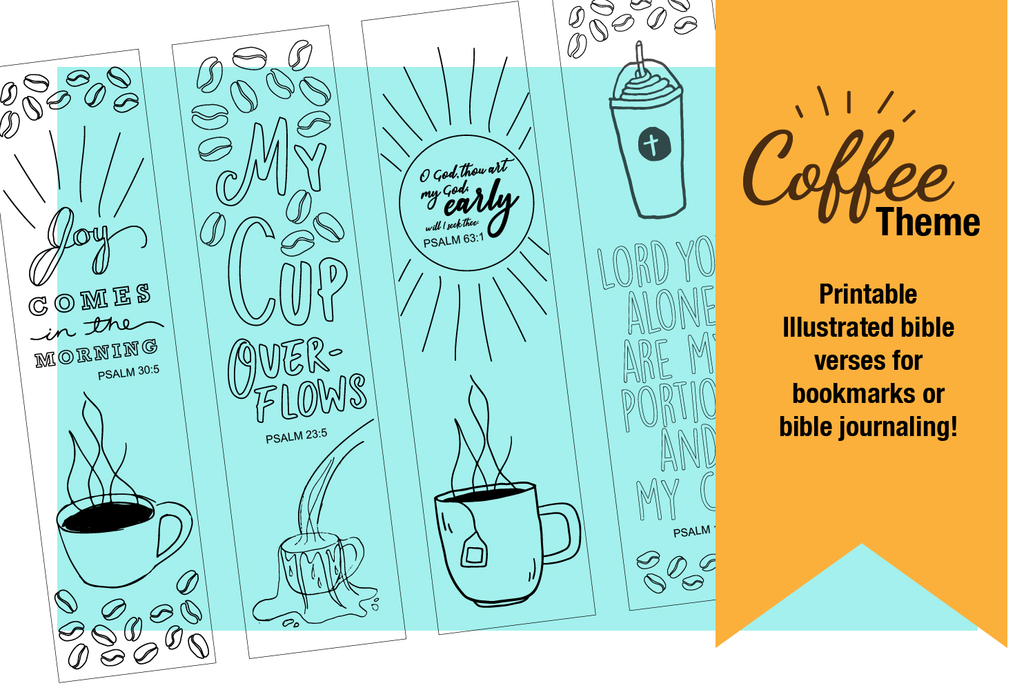 Printable Coloring page Coffee Themed Bible Verses example image 2