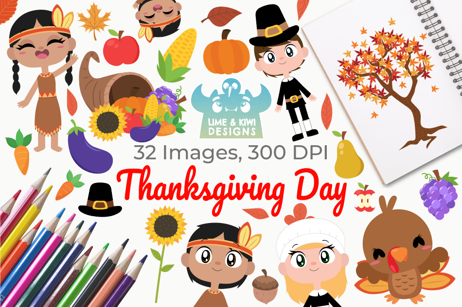 Thanksgiving Day Clipart, Instant Download Vector Art example image 1