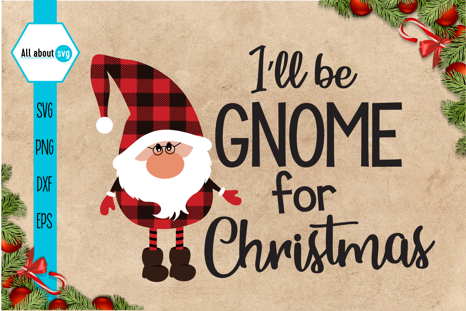 Gnome for Christmas Buffalo Plaid Svg example image 2