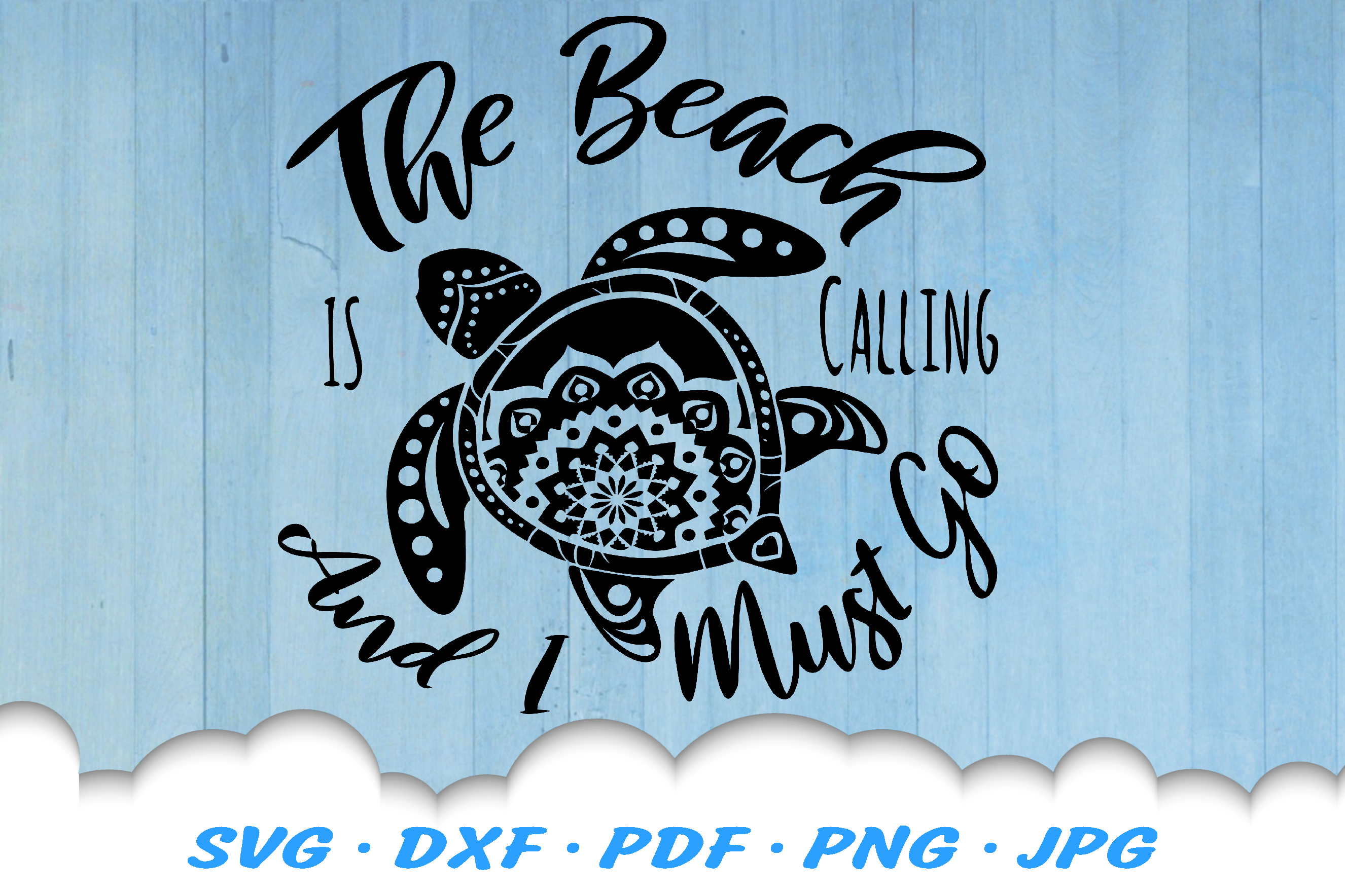 The Beach Is Calling Mandala Sea Turtle SVG DXF Cut Files example image 2