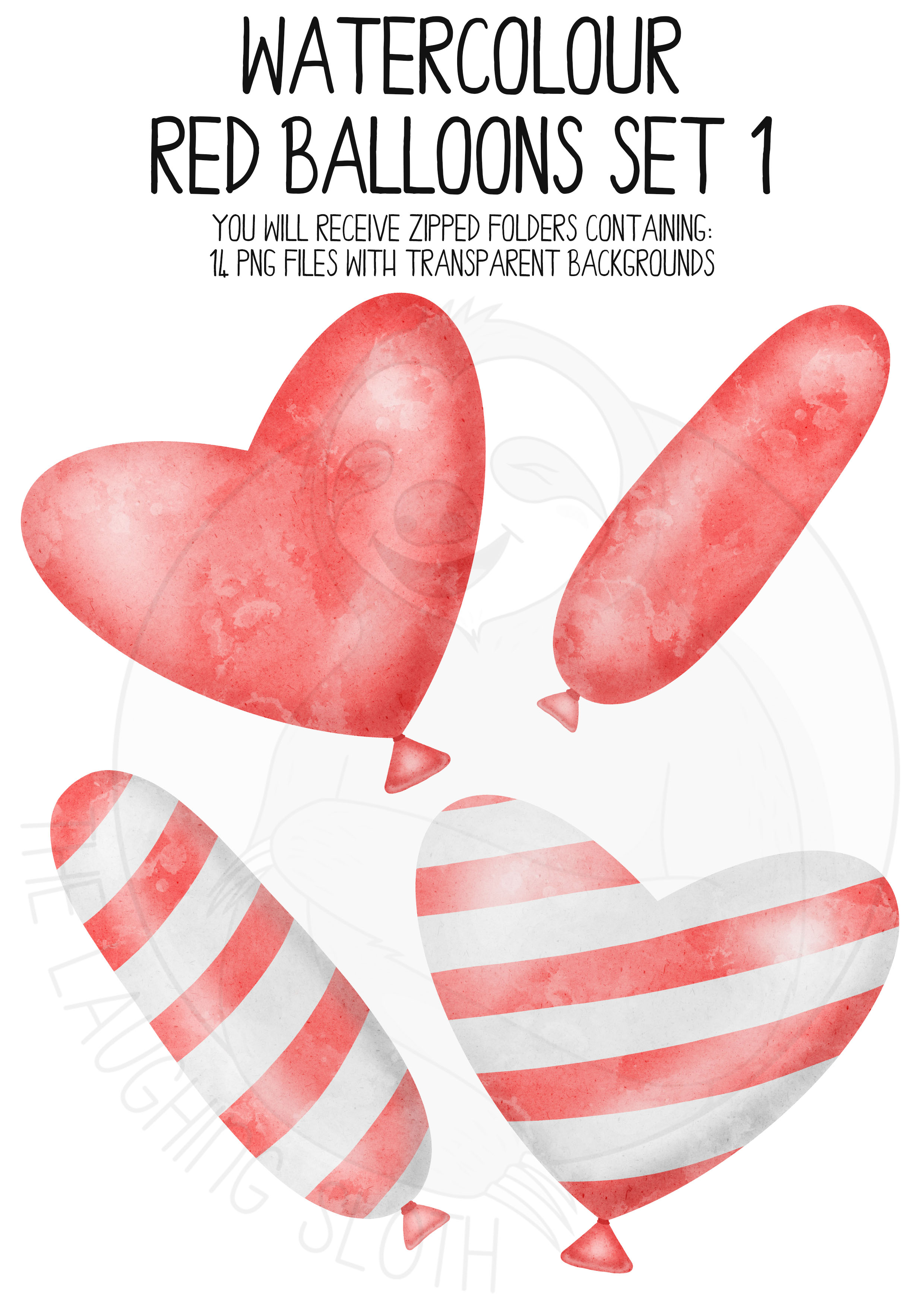 Red Watercolor Balloon Clipart Set example image 2