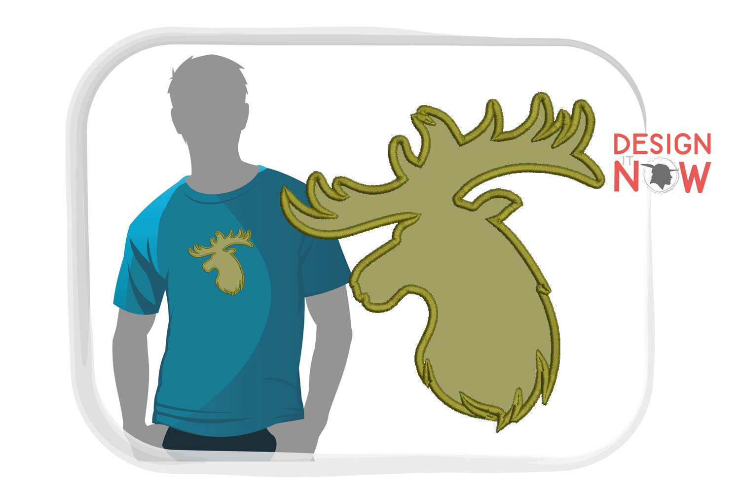Deer Applique Embroidery Design, Wild Embroidery Art example image 1