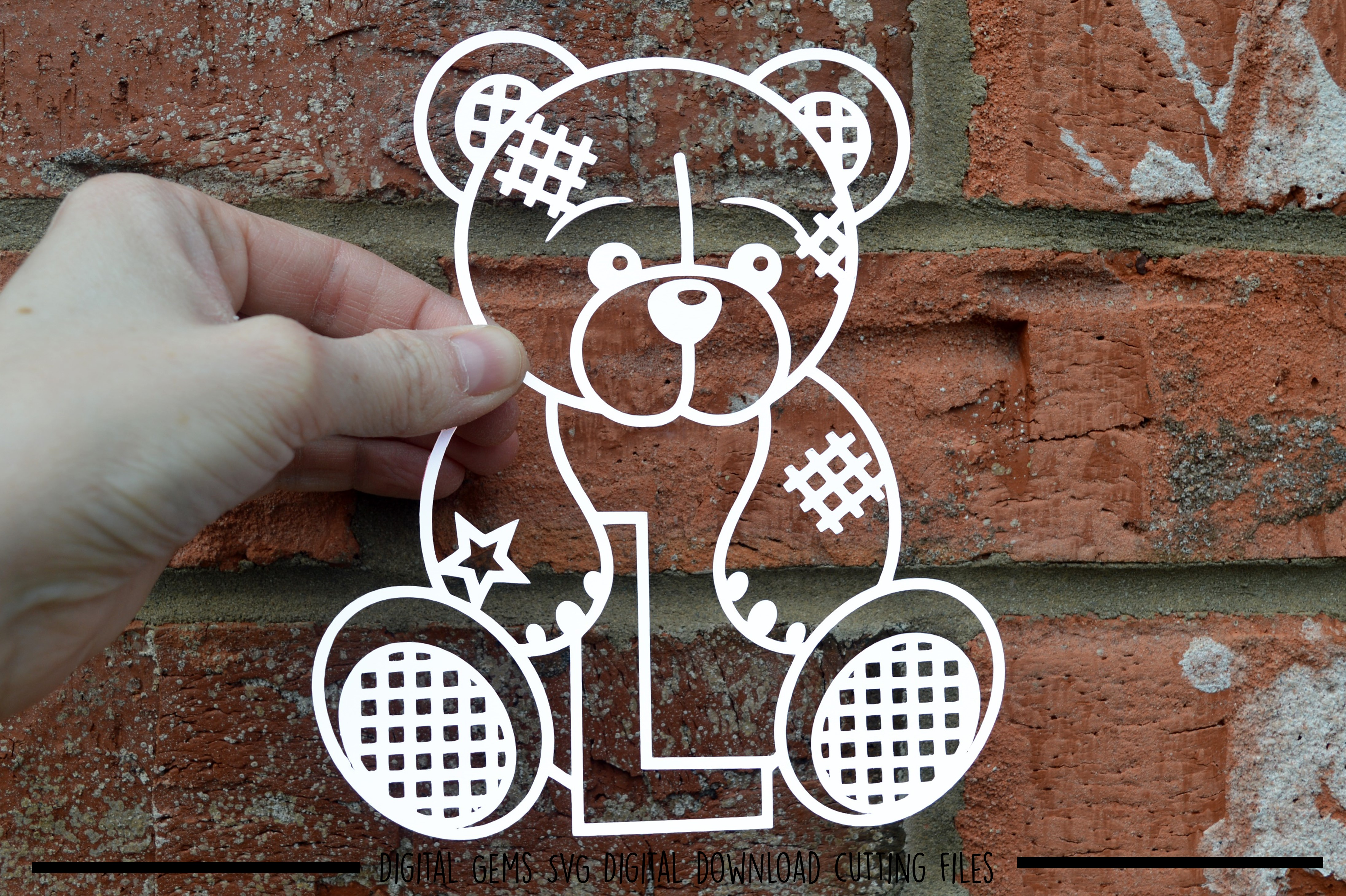 Alphabet teddy bear paper cuts SVG / DXF / EPS files example image 13