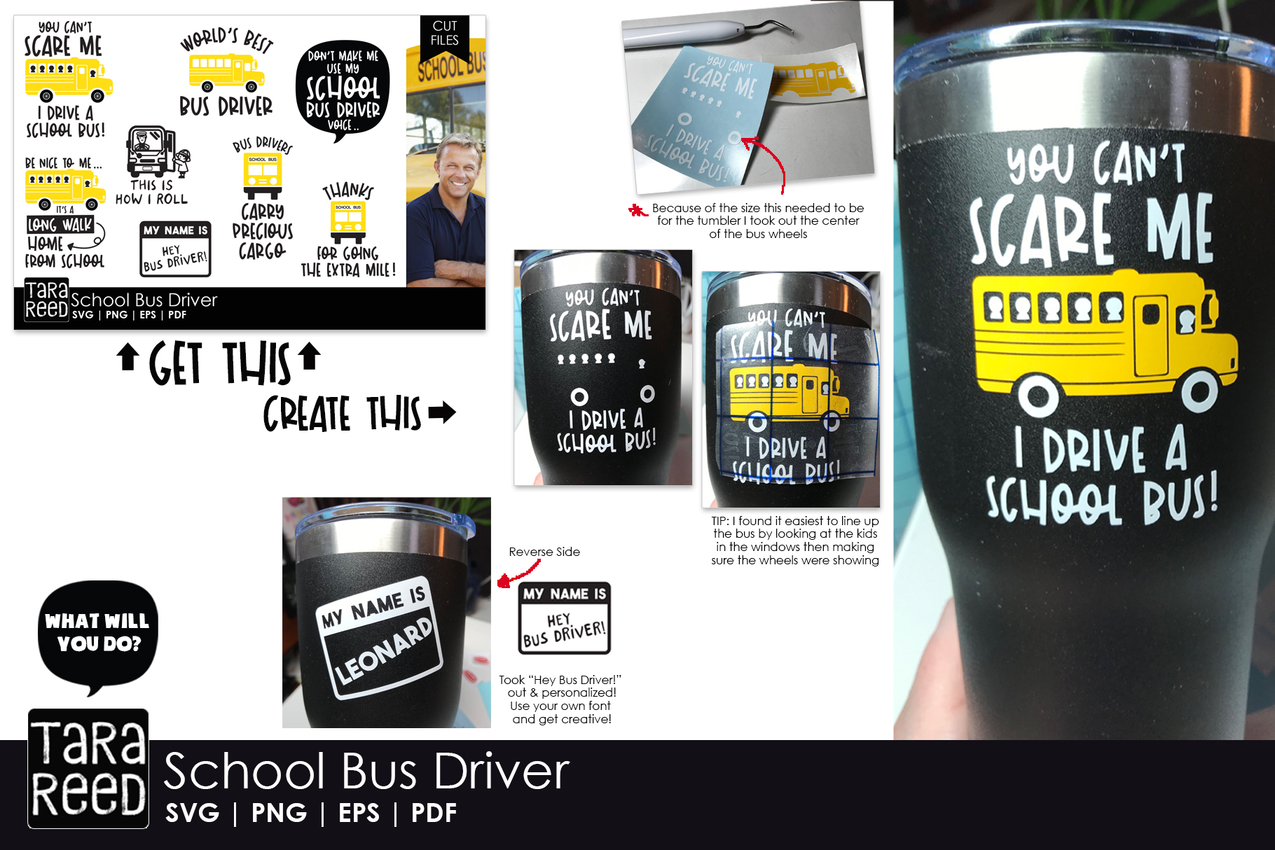 School Bus Driver SVG and Cut Files for Crafters example image 2