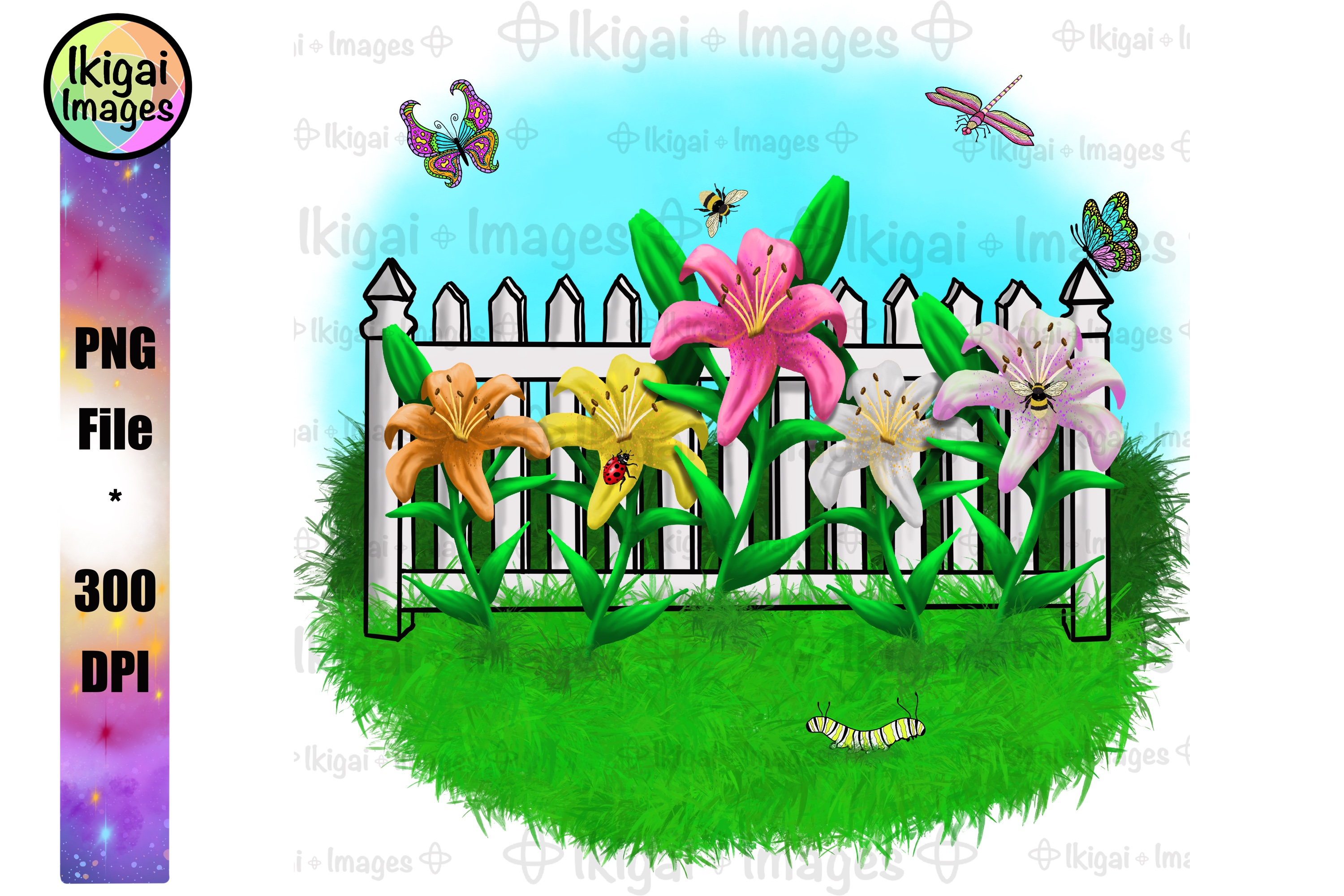 Tiger Lilies Garden Sublimation Png File Lily Flower Clipart
