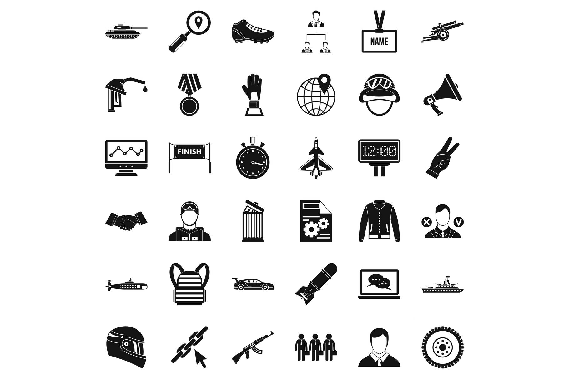 Great victory icons set, simple style example image 1