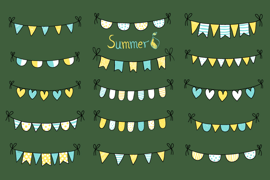 Cute hand drawn summer bunting clip art set, Birthday party bunting example image 2