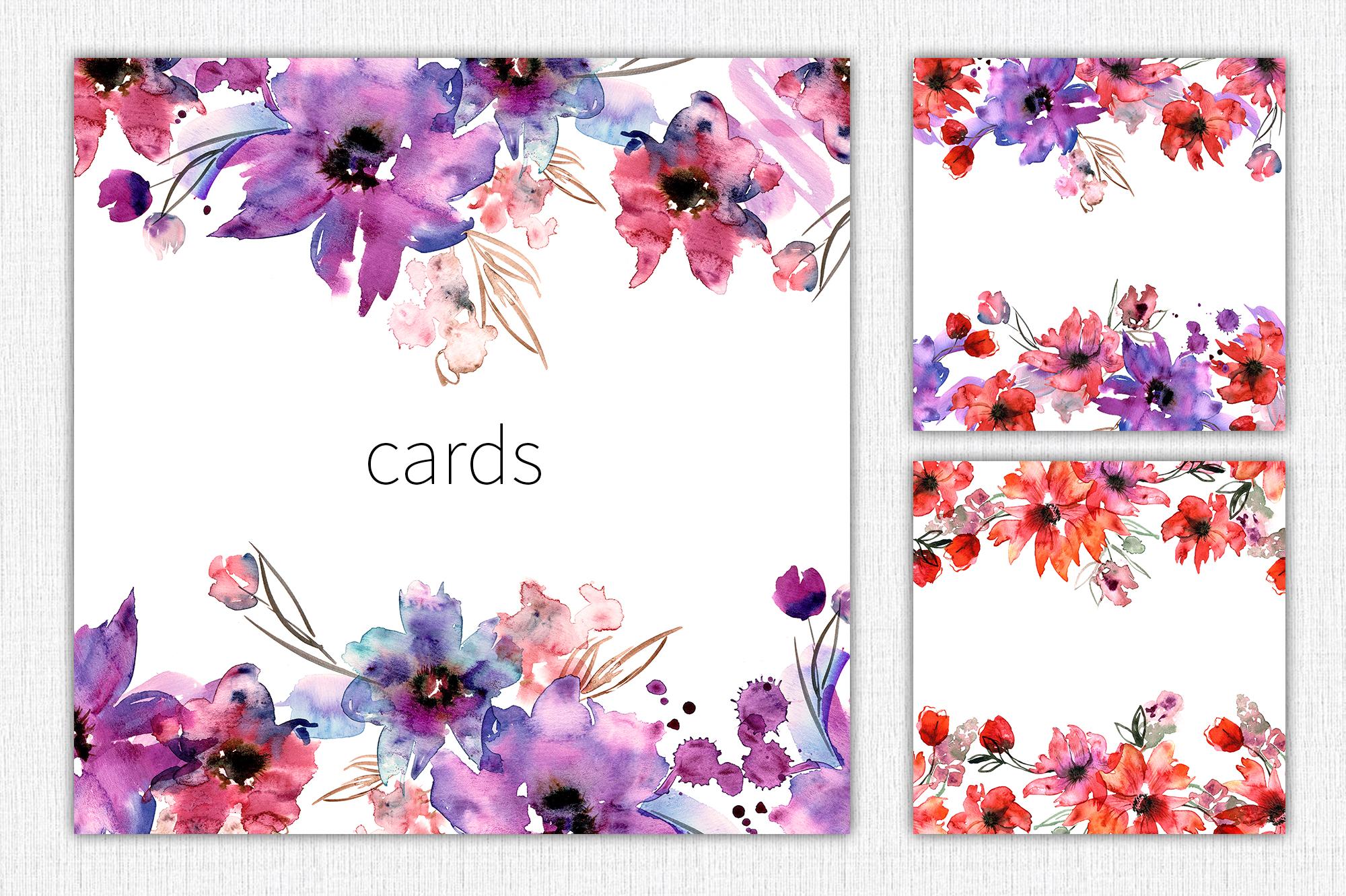 Watercolor Purple Flowers example image 7