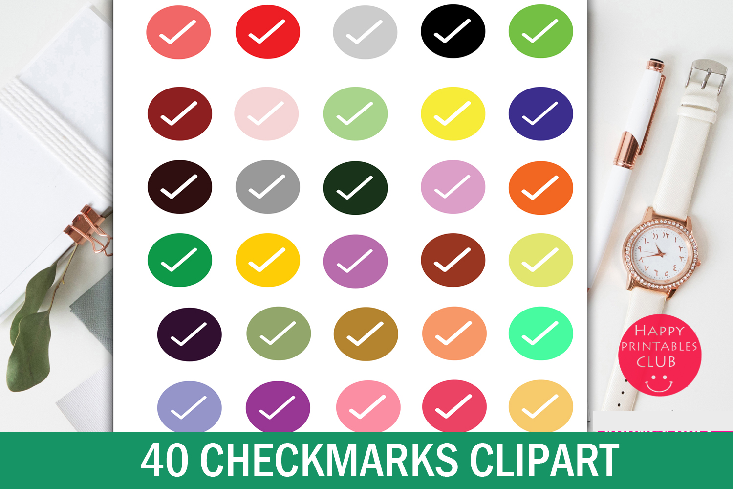 40 CheckMarks Clipart-Checkmark Icons-School Stickers example image 1