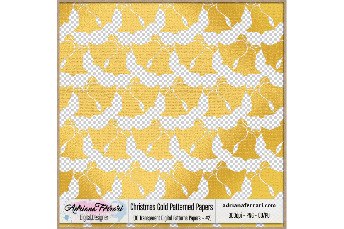 Christmas Gold Patterned Papers - Patterns 2 example image 2