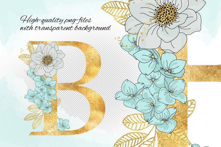BLOOM Gold Floral Decorative Alphabet Number Set example image 2