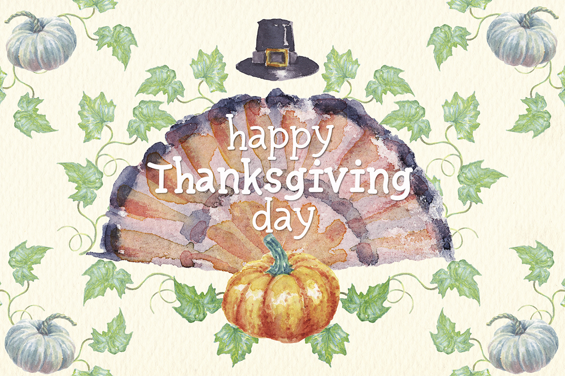 watercolor autumn, harvest and thanksgiving clipart example image 5